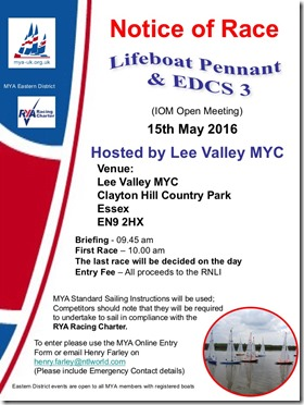 Lifeboat Pennant @ EDCS 3 for IOM @ Lee Valley – Sun 15th May